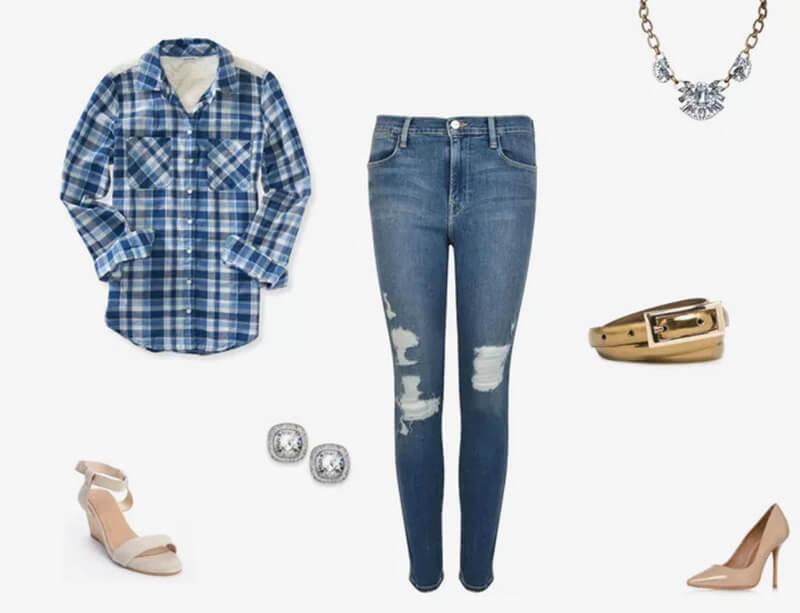 Quần jean xanh và kẻ sọc xanh