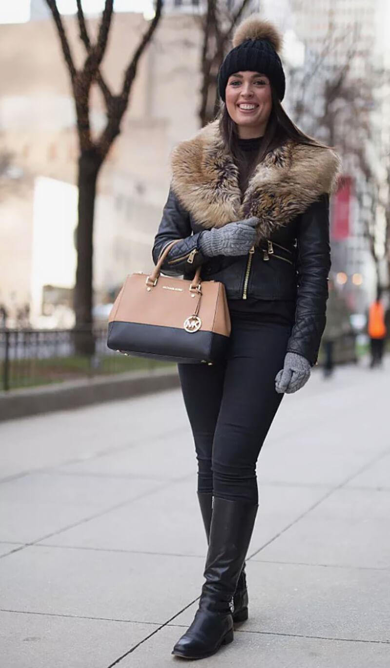 Trang phục mùa đông với khoác da