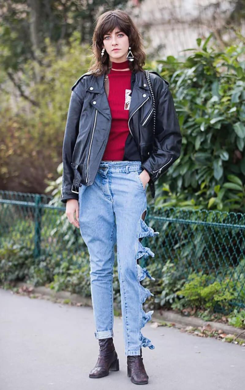 Phong cách cực ngầu với áo khoác da và chiếc quần jeans đặc biệt