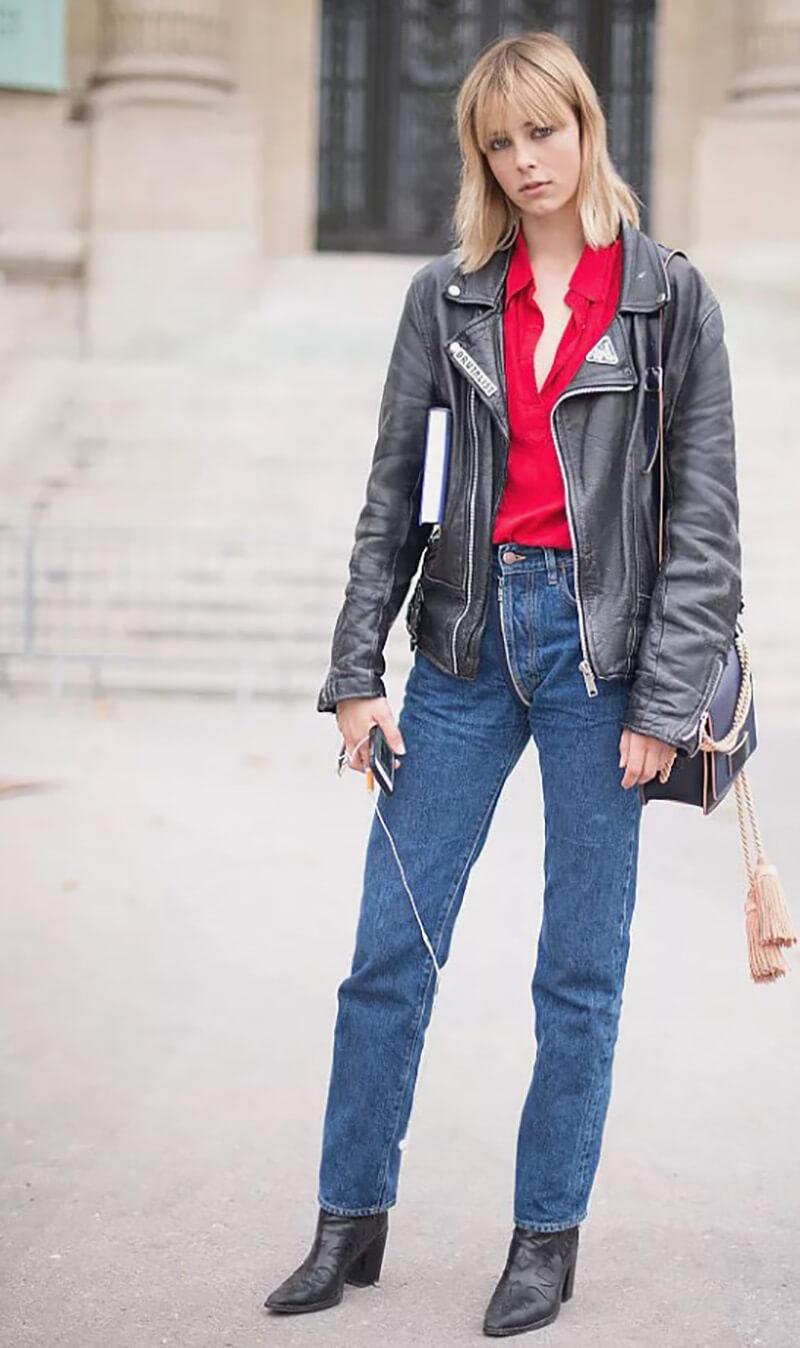 Quần boyfriend jeans và áo khoác da