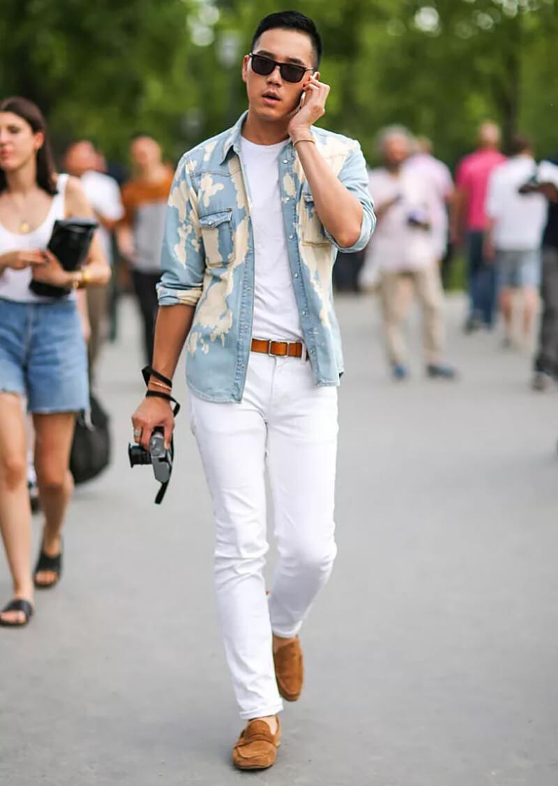 Trang phục ngắm cảnh – Áo sơ mi và quần jean trắng