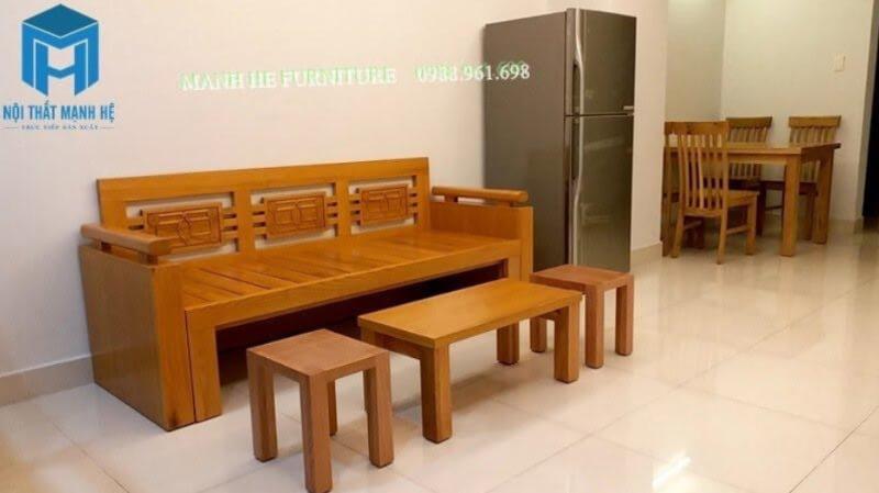 Sofa giường bằng gỗ thích hợp cho phòng khách nhỏ