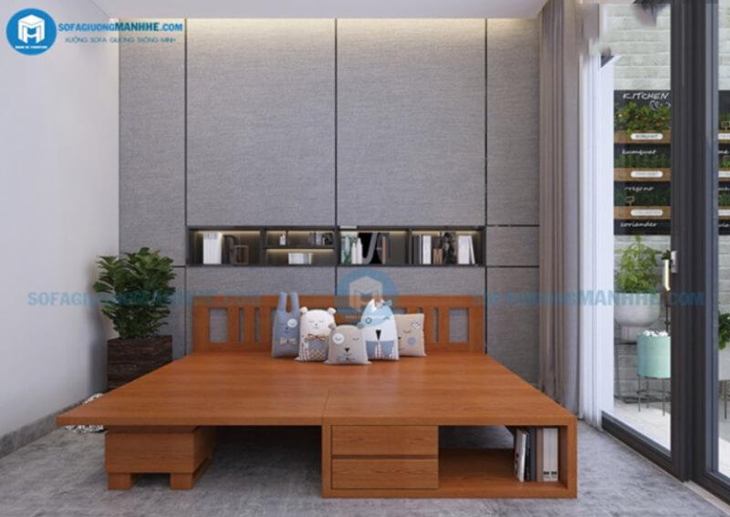 Sofa giường gỗ thiết kế đẹp và độ bền cao