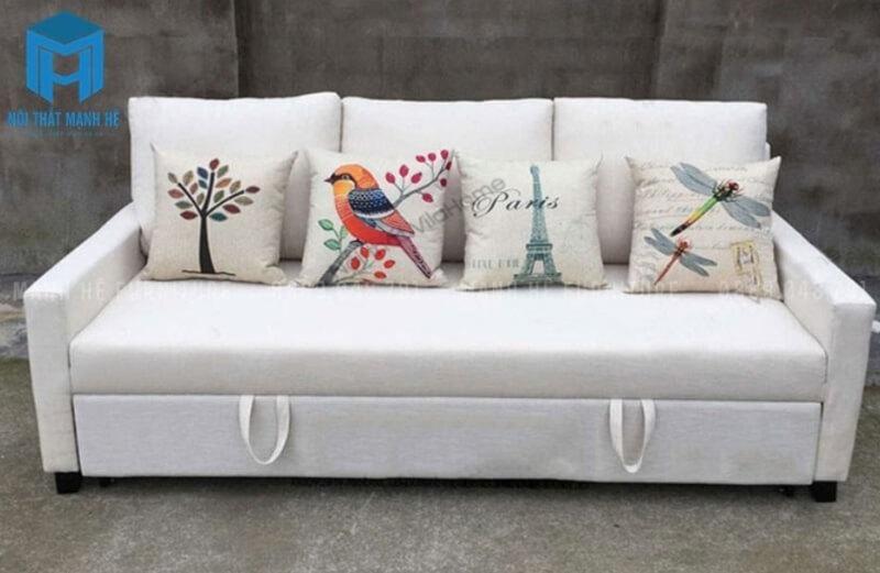 Sofa nệm đa năng màu trắng tạo cảm giác phòng khách rộng hơn
